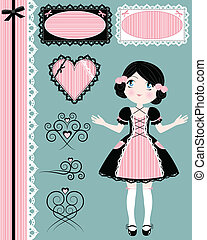 vintage collection - vintage girl with matching design ...