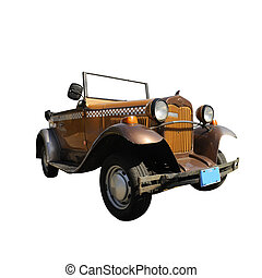 Vintage collector car isolated over white with clipping path