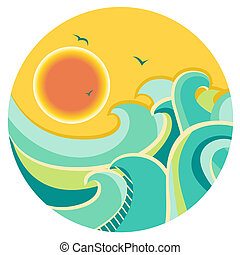 Vintage color seascape with sun on round symbol.Vector icon...