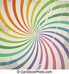 Vintage color spiral background with blots and scratches