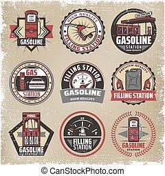 Vintage Colored Filling Station Labels Set