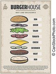 Vintage Colored Hamburger Ingredients Poster