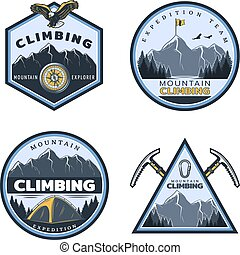 Vintage Colored Mountain Climbing Emblems Set