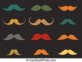 Vintage Colored Moustaches Set Vector Illustration