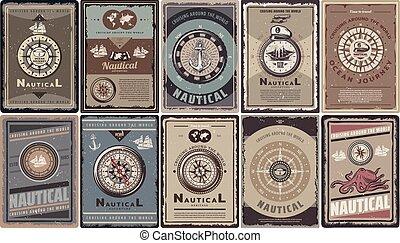 Vintage Colored Nautical Brochures Set