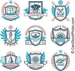 Vintage Colored Nautical Emblems Set