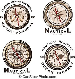 Vintage Colored Nautical Round Emblems Set