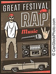 Vintage Colored Rap Music Festival Poster