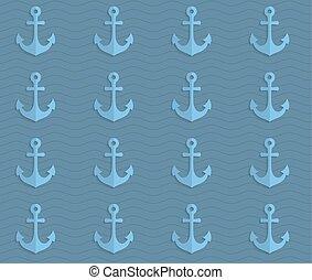 Retro fold blue anchors on waves