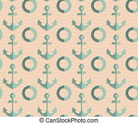 Retro fold sea green anchors