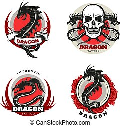 Vintage Colored Tattoo Dragon Emblems Set
