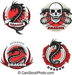 Vintage Colored Tattoo Dragon Emblems Set