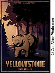 Vintage Colored Yellowstone National Park Poster - Vintage...