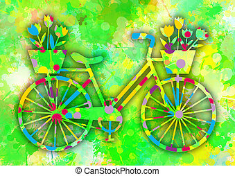 Vintage colorful bicycle with flowers.