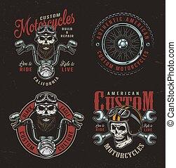 Vintage colorful custom motorcycle logotypes
