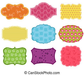 Vintage Colorful Design Elements for Scrapbook - Tags and...