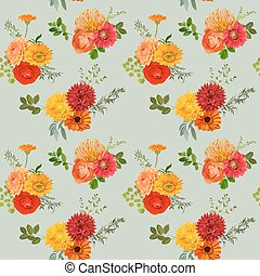 Vintage Colorful Floral Background - seamless pattern - in vector