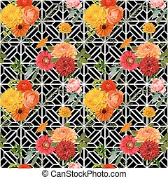 Vintage Colorful Floral Geometry Background - Seamless Pattern - in vector