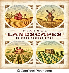 Vintage colorful landscapes set