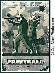Vintage Colorful Paintball Club Poster