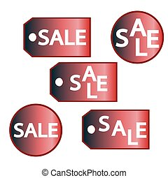 Colorful Sale labels set isolated on white.