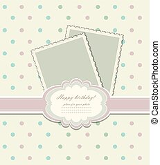 Vintage colorful scrap booking template for kid party, ...