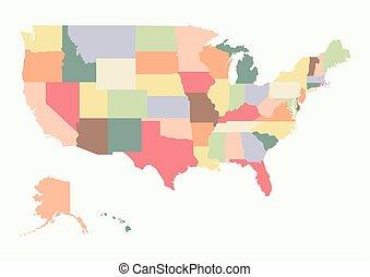 Vintage colorful USA map