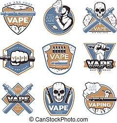 Vintage Colorful Vape Labels