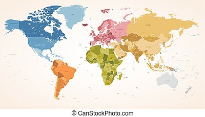Vintage colors vector political World Map