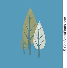 Vintage Comic Trees Vector Illustration