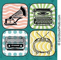 Vintage Communication - Vintage record player, type writer, ...