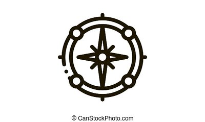 Vintage Compass Icon Animation. black Vintage Compass animated icon on white background