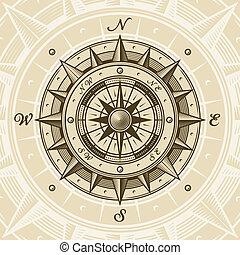 Vintage compass in woodcut style. Vector illustration with...