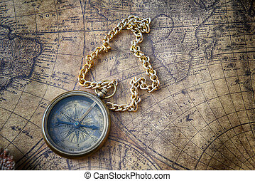 compass on old map  - Vintage compass on old map