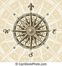 Vintage compass rose in woodcut style. Vector illustration...