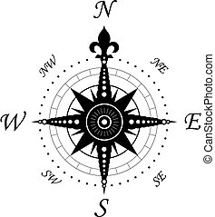 Vintage compass symbol isolated on white for design