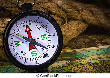 Vintage compass with rope