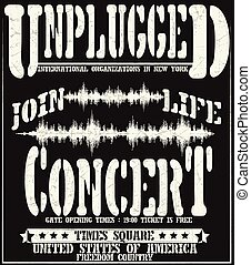 Vintage concert typographic for t-shirt ,tee design, poster, vector
