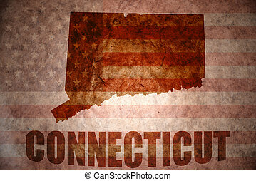 connecticut map on a vintage american flag background