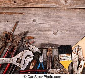 Vintage construction tools background
