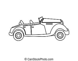 vintage convertible car icon - flat design vintage...