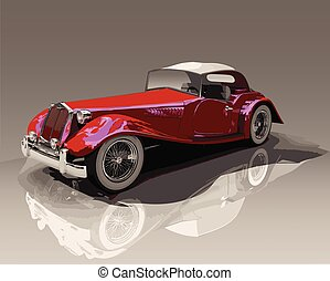 Vintage convertible red car