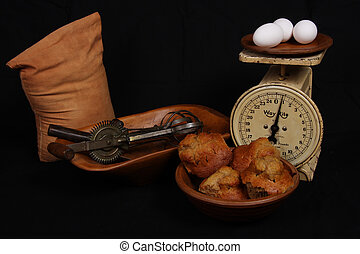 Vintage cookware - Antique cookware wooden bowls flour and ...