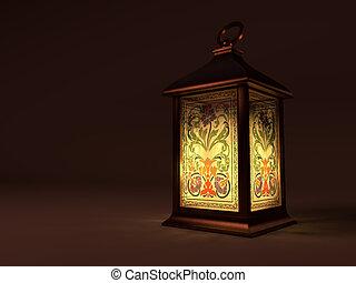 Vintage copper lantern - Light of vinage copper lantrem in...