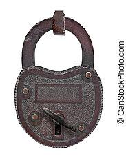 vintage copper padlock with key
