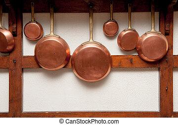 Vintage copper pans hung on wooden shelf - Row of vintage ...
