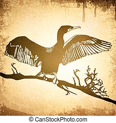 Vintage Cormorant - Illustration of Hop off Cormorant Over...