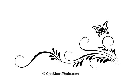 Vintage corner floral ornament with flying butterfly for...
