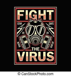 Vintage Corona Virus Graphic T-shirt - fully editable vector...