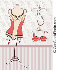 Vintage corset and bra
